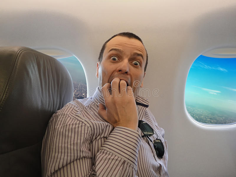 Miedo del vuelo - Pteromerhanophobia fotos de archivo libres de regalías