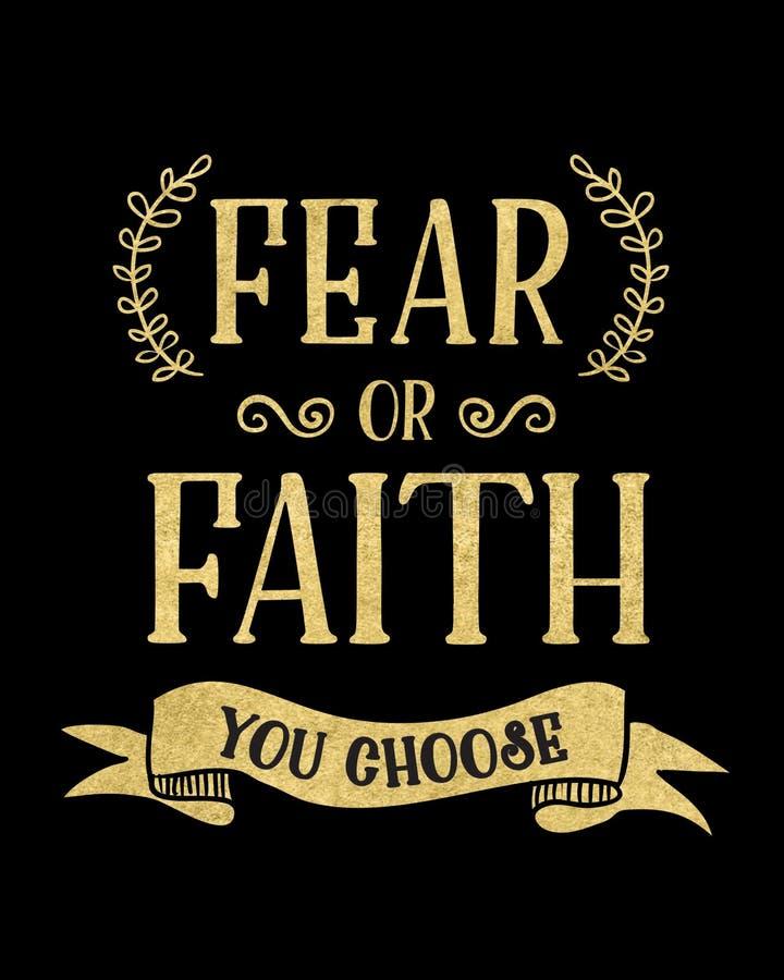 Miedo o fe que usted elige ilustración del vector
