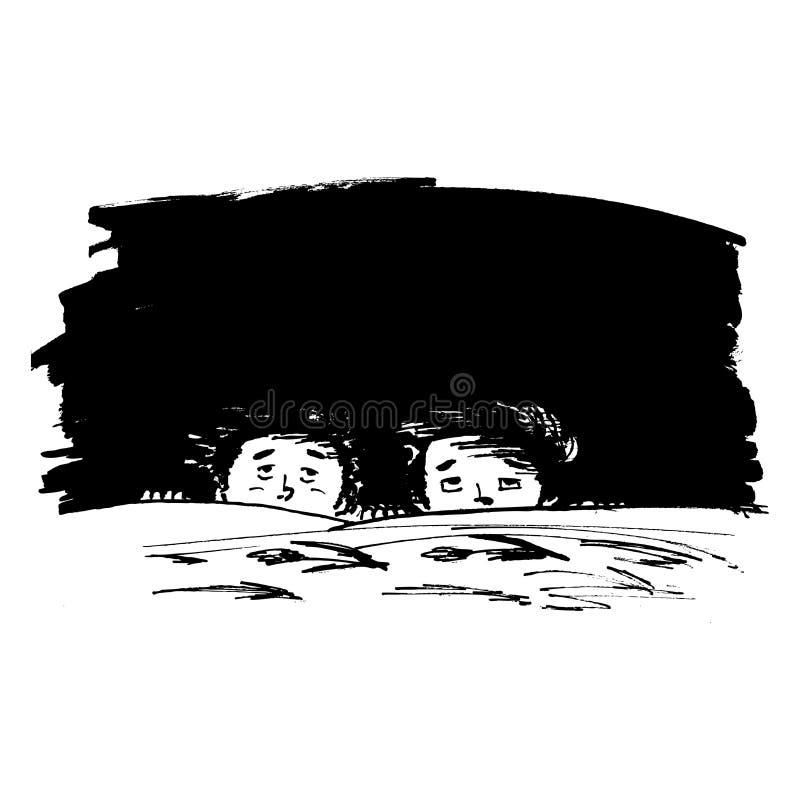 Miedo o la obscuridad stock de ilustración