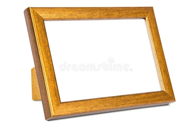 Miedziana fotografii rama na białym tle zdjęcia stock