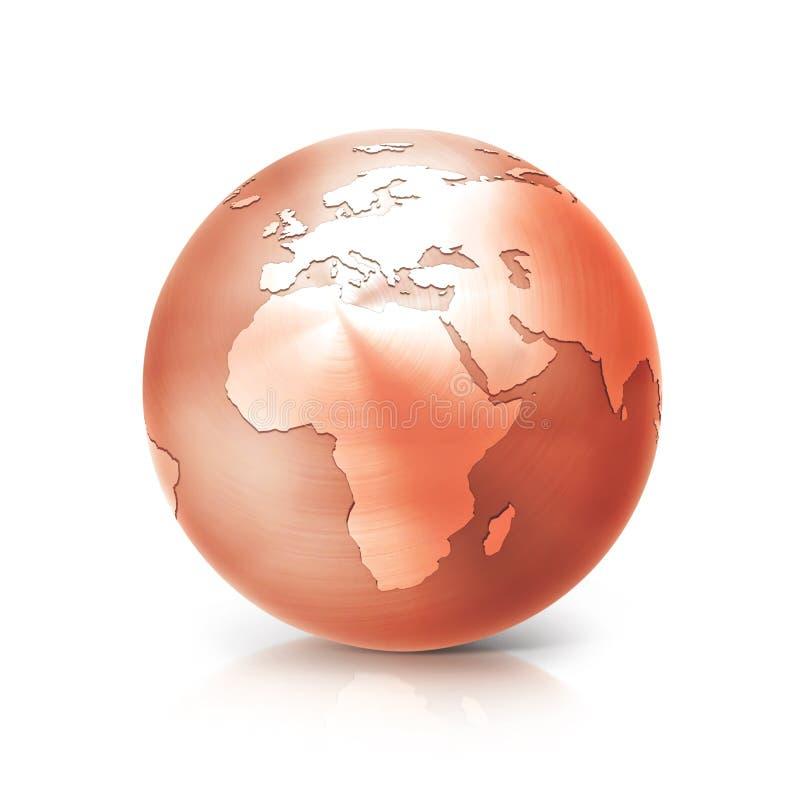 Miedziana kula ziemska 3D Europe i Africa ilustracyjna mapa ilustracja wektor