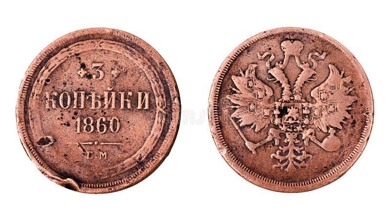 Miedziana moneta Rosyjskiego imperium 3 kopiejki 1860 zdjęcia stock