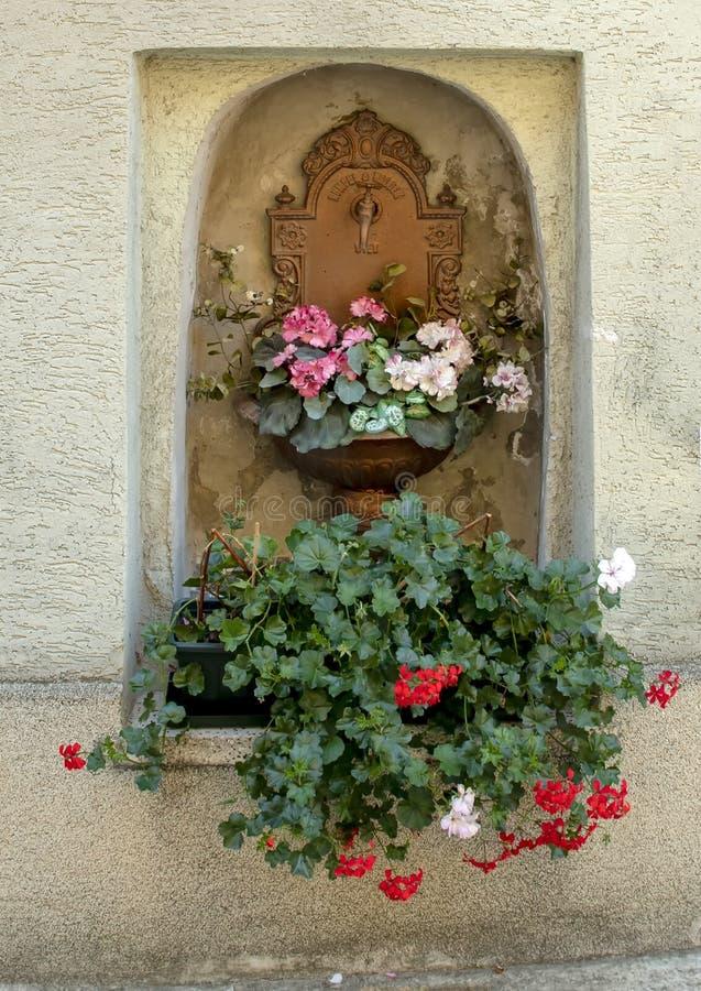 Miedziany Wodny czopek i puchar zasadzający z uroczymi kwiatami w niszie w ścianie, Krems, Austria fotografia stock
