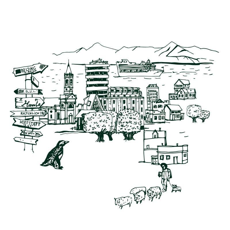 Miejsca i architektury Chili dookoła świata royalty ilustracja