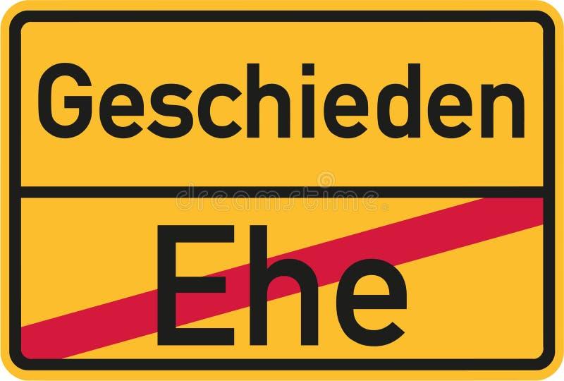 Miejsca imienia znak od małżeństwa rozwiedziona niemiec ilustracja wektor
