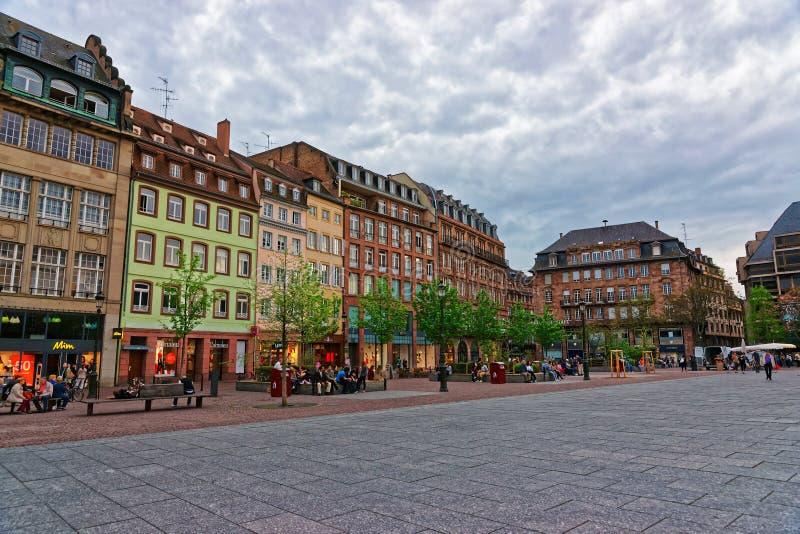 Miejsca Kleber kwadrat w Strasburg Francja obrazy stock