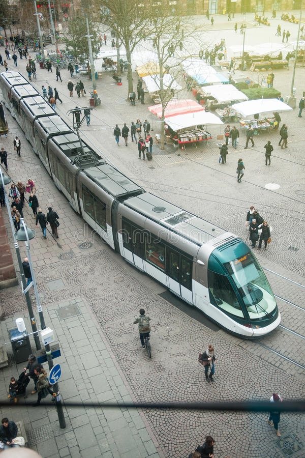 Miejsca Kleber Strasburg centrum widzieć od above zdjęcia royalty free