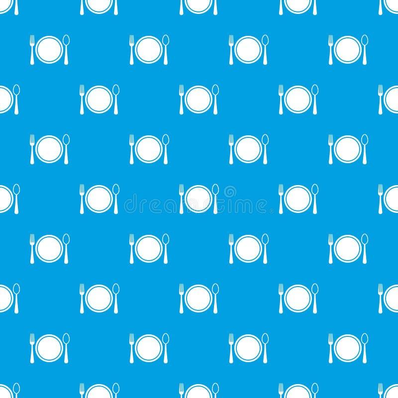 Miejsca położenie z talerza, łyżki i rozwidlenia deseniowym bezszwowym błękitem, ilustracja wektor