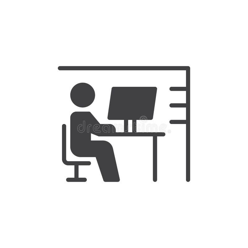 Miejsca pracy biurka ikony wektor, wypełniający mieszkanie znak, stały piktogram odizolowywający na bielu Symbol, logo ilustracja royalty ilustracja