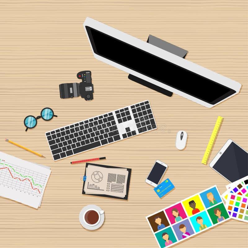 Miejsca pracy biznesowego biura akcydensowi ludzie Graficzny sieci pracy interneta wektor Osoby ilustraci komputerowy styl Brains royalty ilustracja