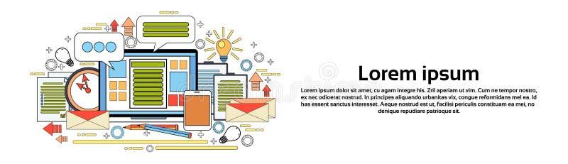 Miejsca pracy Desktop urzędnika biurka Komputerowych elementów Horyzontalny sztandar Z kopii przestrzenią royalty ilustracja