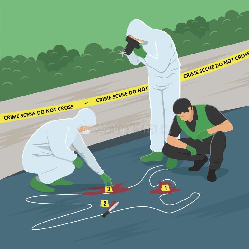 Miejsca przestępstwa dochodzenia wektoru ilustracja ilustracji
