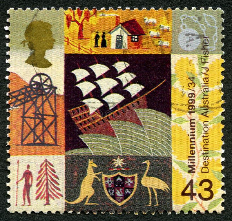 Miejsca przeznaczenia Australia UK znaczek pocztowy obrazy stock