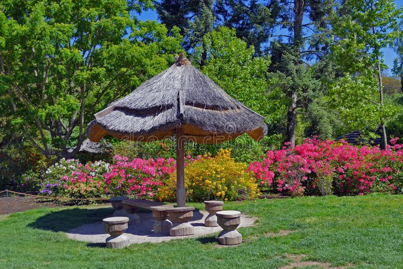 Miejsca siedzące z drewnianymi krzesłami i parasol w kwiatu ogródzie uprawiamy ogródek zdjęcie stock