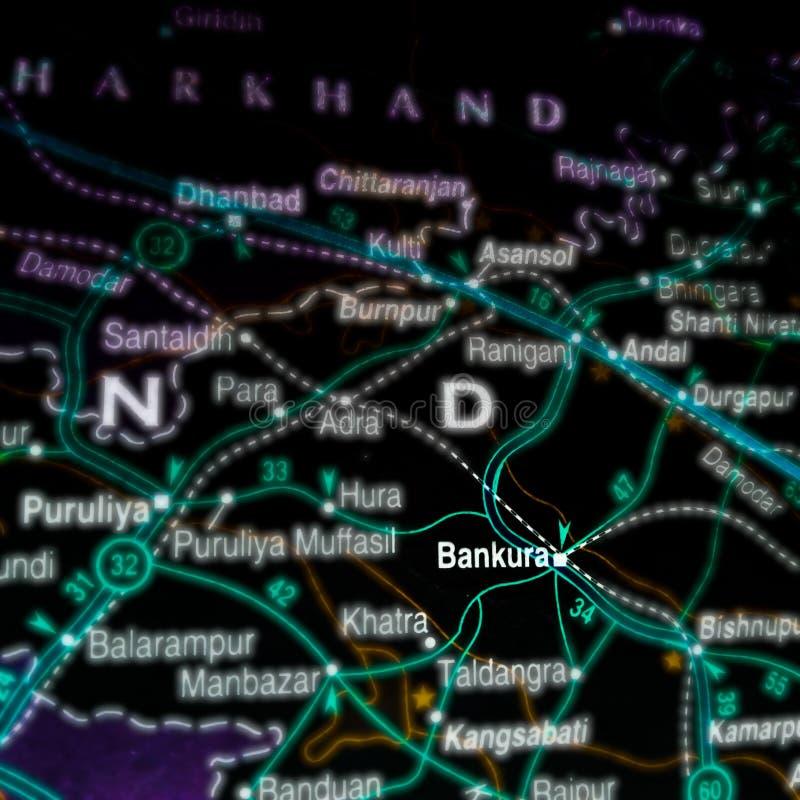 miejsce bankura w Indiach na mapie lokalizacji geograficznej obrazy stock