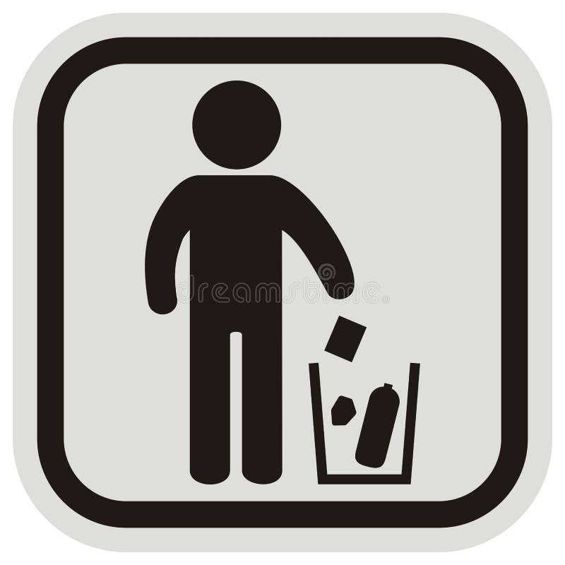 Miejsce dla odpady, czarnej postaci i kubeł na śmieci, royalty ilustracja