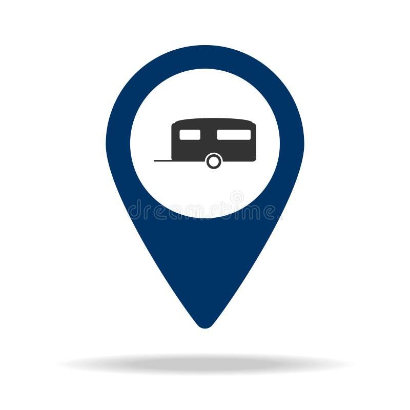 miejsce dla przyczep w błękitnej mapy szpilki ikonie Element mapa punkt dla mobilnych pojęcia i sieci apps ikona dla strona inter royalty ilustracja