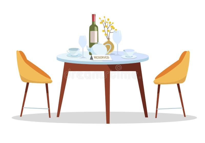 Miejsce dla romantycznej daty Zarezewowany znak na stole w restauracji Zarezewowany Sto?owy poj?cie round stół, słuzyć z naczynia royalty ilustracja