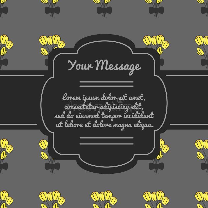 Miejsce dla teksta z kwiatami projekta ramy target1430_0_ tekstura Pogrzeb karta ilustracja wektor