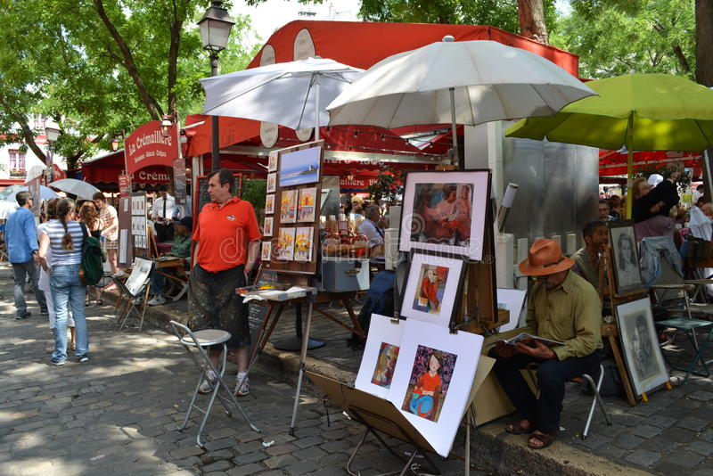 Miejsce Du Tertre Monmartre, Paryski Francja fotografia royalty free