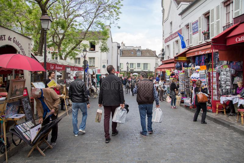 Miejsce Du Tertre w Montmartre, Paryż fotografia royalty free