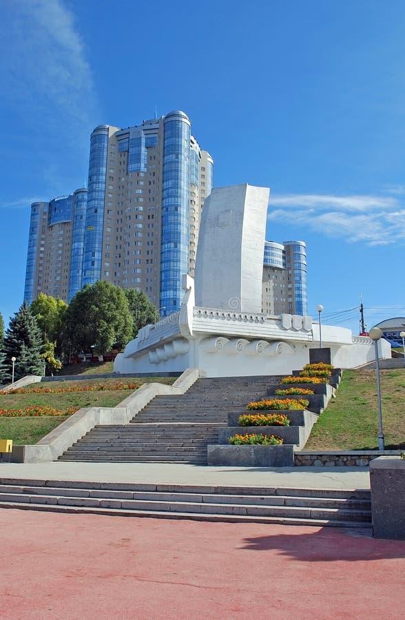 Miejsce interes miasto Samara Rzeźby ` kasztelu ` na Volga rzeki bulwarze samara fotografia royalty free