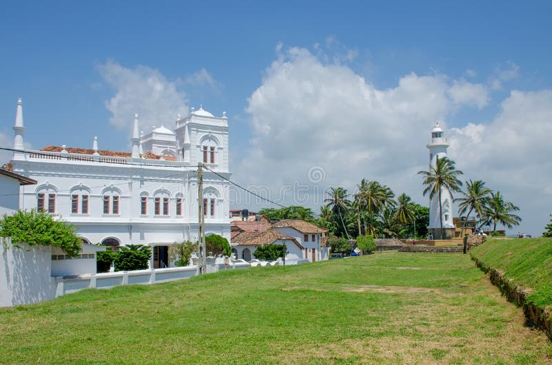 Miejsce interesu Galle fort w Sri Lanka na bastionie Utrecht i kościół bakan fotografia stock