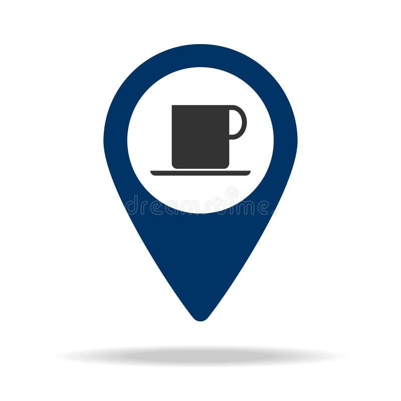miejsce kawiarnia w błękitnej mapy szpilki ikonie Element mapa punkt dla mobilnych pojęcia i sieci apps Ikona dla strona internet royalty ilustracja