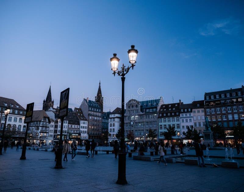 Miejsce Kleber w Strasburskim miasto kwadracie obraz royalty free