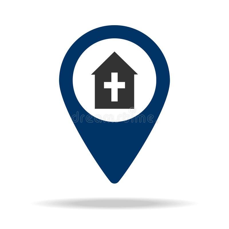 miejsce kościół w błękitnej mapy szpilki ikonie Element mapa punkt dla mobilnych pojęcia i sieci apps Ikona dla strony internetow ilustracja wektor