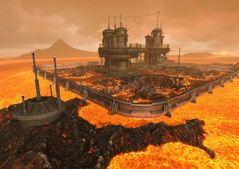 Miejsce pełno lawa i ogień ilustracja wektor