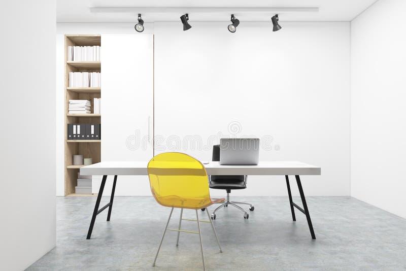 Miejsce pracy, żółty krzesło, komputer ilustracja wektor