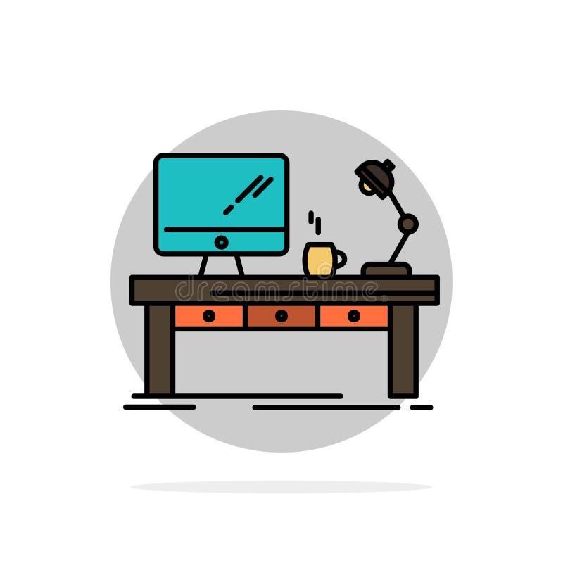 Miejsce pracy, biznes, komputer, biurko, lampa, biuro, Stołowego Abstrakcjonistycznego okręgu tła koloru Płaska ikona ilustracji