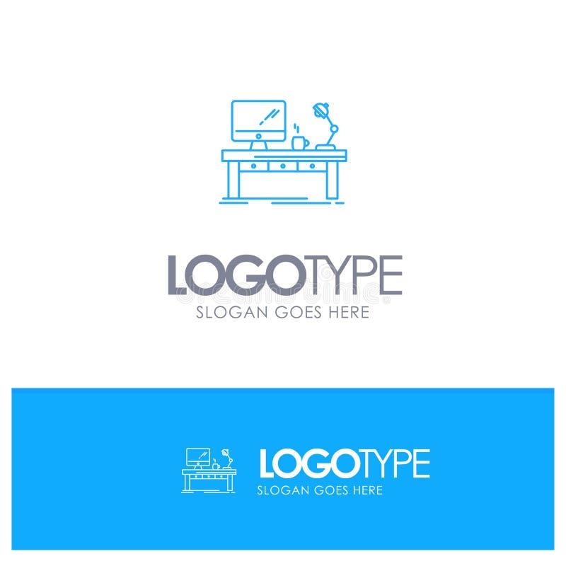 Miejsce pracy, biznes, komputer, biurko, lampa, biuro, Stołowy Błękitny konturu logo z miejscem dla tagline royalty ilustracja