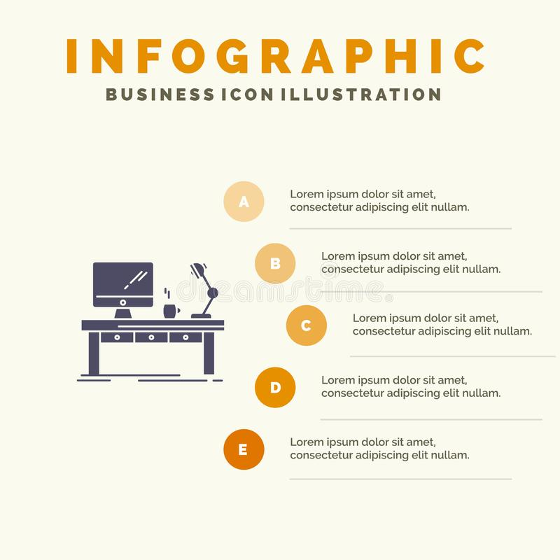Miejsce pracy, biznes, komputer, biurko, lampa, biuro, Stołowy Stały ikony Infographics 5 kroków prezentacji tło royalty ilustracja