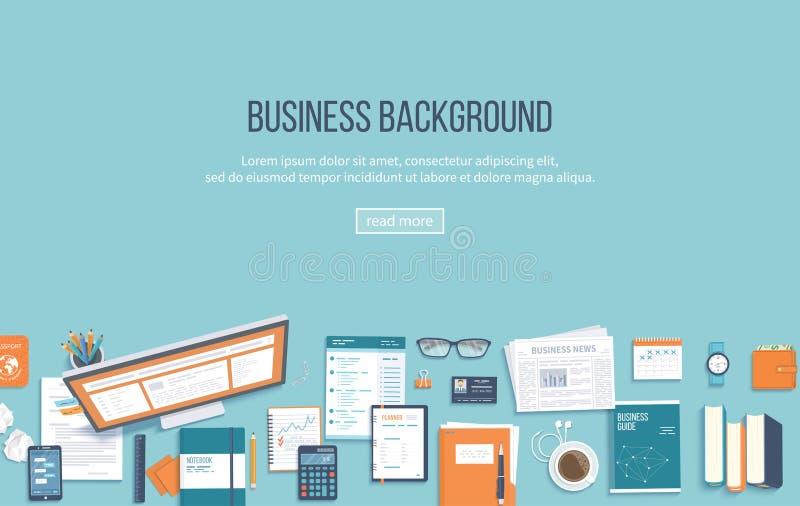 Miejsce pracy biznesu tło Odgórny widok biurowe dostawy monitoruje, falcówka, dokumenty, notepad, książki miejsce tekst ilustracji