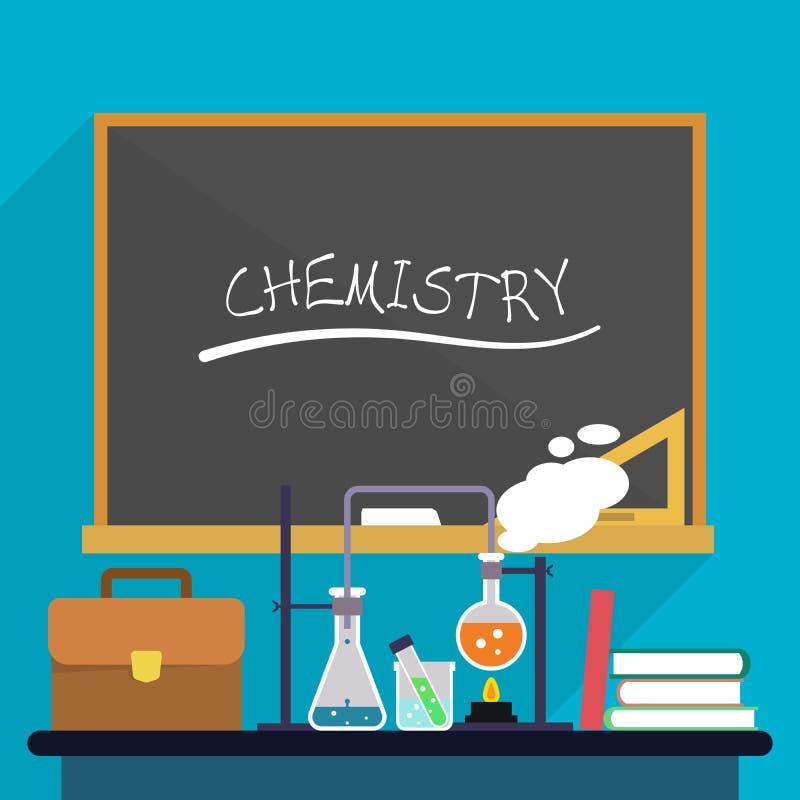 Miejsce pracy chemii nauczyciel z próbnymi tubkami, kolby, teczka i książki na tle zarząd szkoły, royalty ilustracja