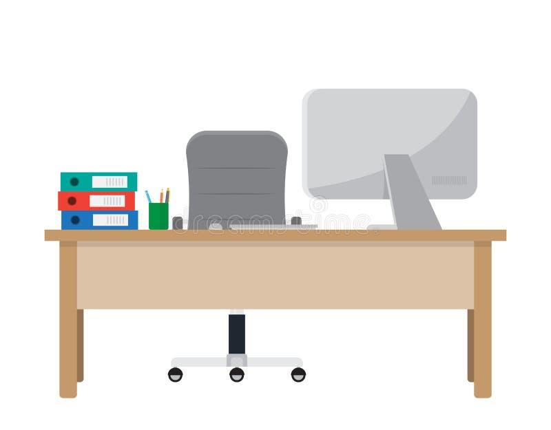 Miejsce pracy dla pracownika Biurko z komputerem, dokumenty ilustracja wektor