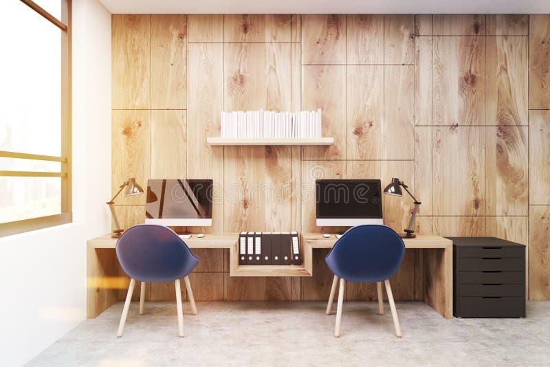 Miejsce pracy, dwa błękitnego krzesła, drewno, tonujący ilustracji