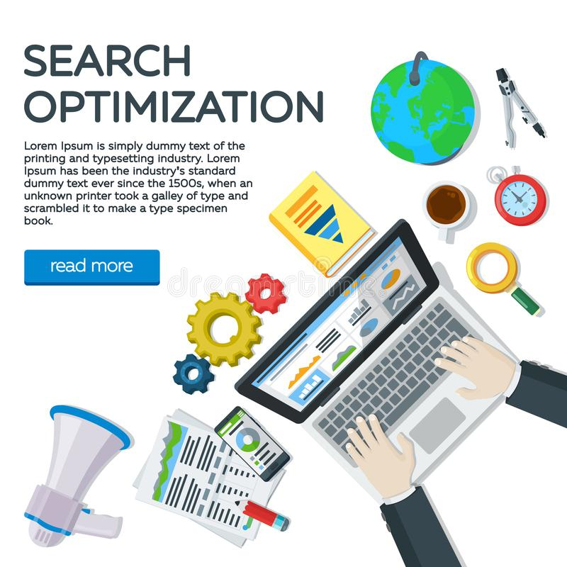 Miejsce pracy ekspert w SEO Sieci analityka marketing i elementy Strona internetowa rozwój, wyszukiwarka optymalizacja Kierownika ilustracja wektor