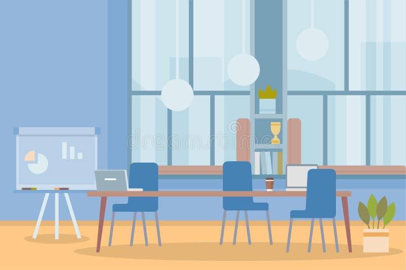 Miejsce pracy, gabinet, biuro Pusty workspace z stołem i krzesłami royalty ilustracja