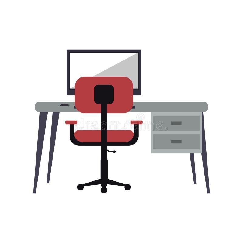 Miejsce pracy komputeru osobistego menchii karła nowożytny biurko ilustracji
