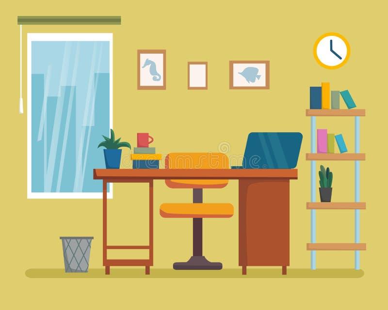 Miejsce pracy kreskówki wewnętrzny projekt z meble, półka na książki Freelancer, projektanta biura stacja robocza Biznesowy pojęc ilustracja wektor