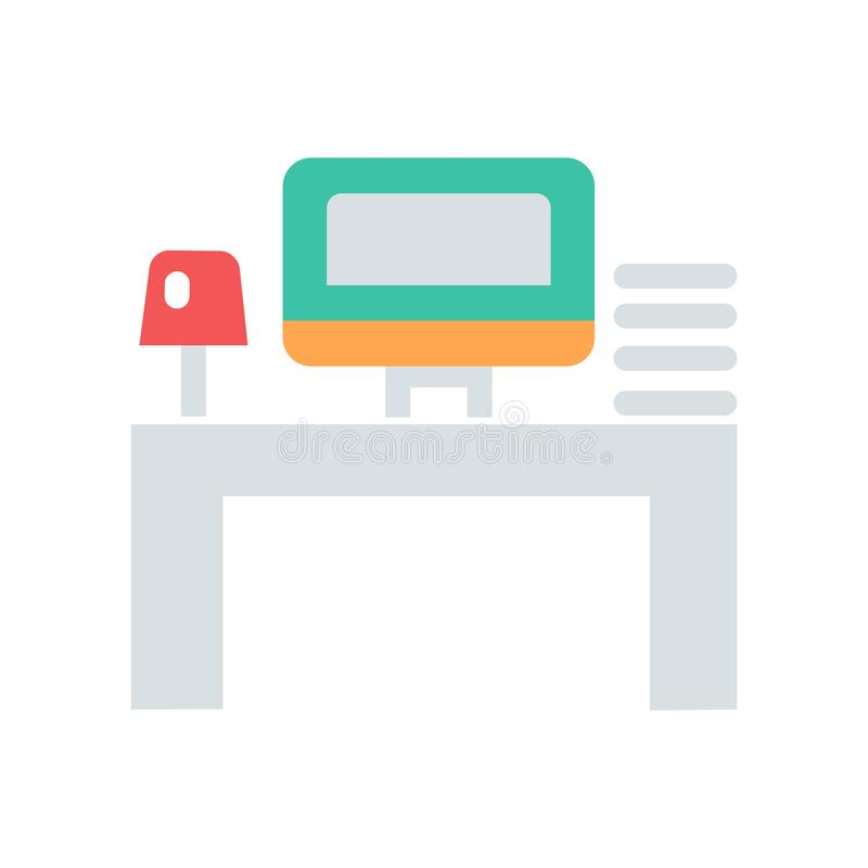 Miejsce pracy lub biurowej pracy ikona Wektorowa ikona z komputerową stołową lampą i mini jaźnią ilustracji