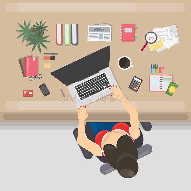 Miejsce pracy odgórny widok ilustracji