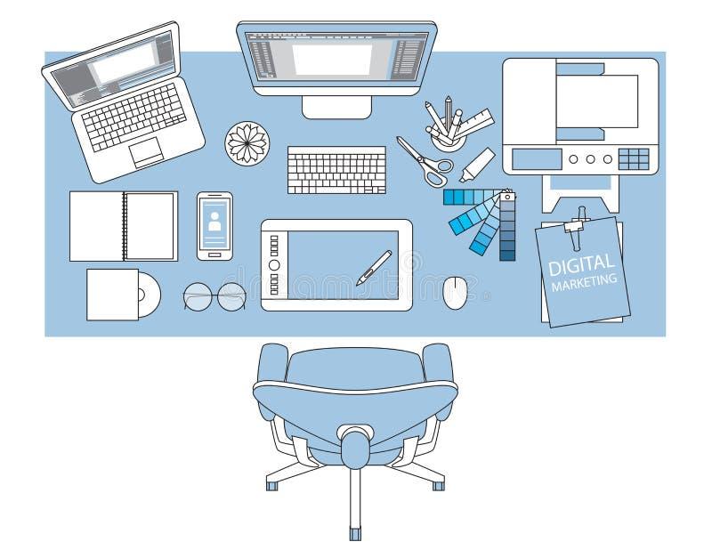 Miejsce pracy projektant z przyrządami dla pracy, mieszkanie projektował sztandar royalty ilustracja