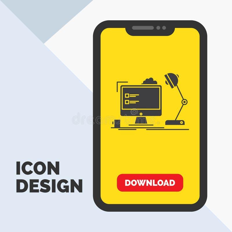 miejsce pracy, stacja robocza, biuro, lampa, komputerowa glif ikona w wiszącej ozdobie dla ściąganie strony ? ilustracji