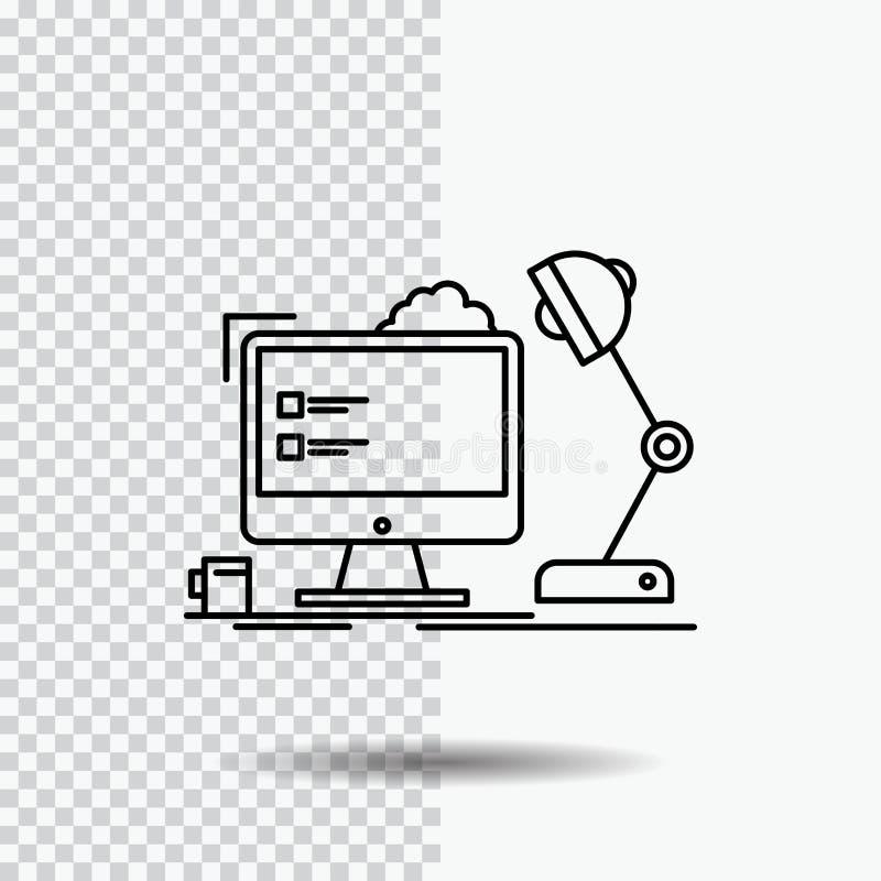 miejsce pracy, stacja robocza, biuro, lampa, komputerowej linii ikona na Przejrzystym tle Czarna ikona wektoru ilustracja royalty ilustracja