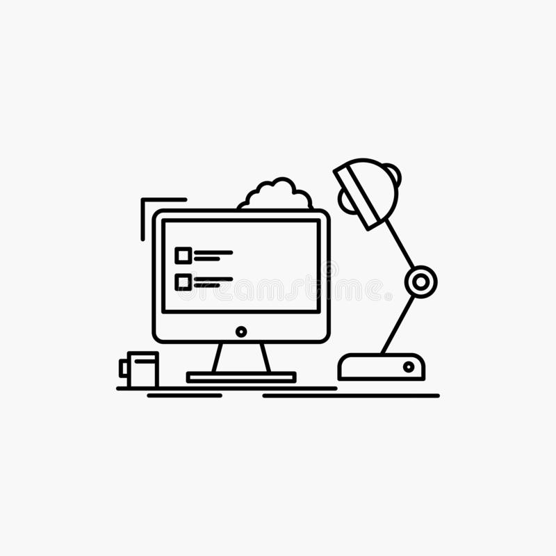 miejsce pracy, stacja robocza, biuro, lampa, komputerowej linii ikona Wektor odosobniona ilustracja ilustracja wektor