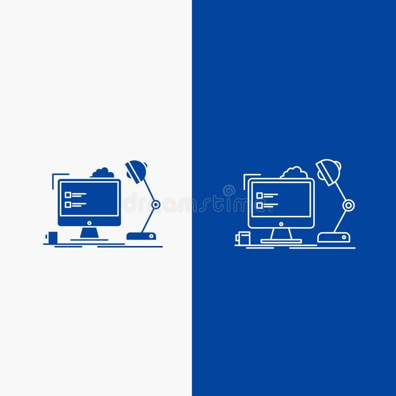 miejsce pracy, stacja robocza, biuro, lampa, sieć, komputerowej linii i glifu Zapinamy w Błękitnego koloru Pionowo sztandarze dla ilustracja wektor